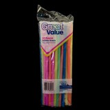 Straw Fexible (Neon)  50 Ea/Pkg
